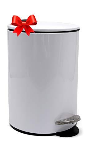 Poubelle Salle Bain, Poubelle Bureau by ZenMorning - Poubelle Bureau au Design Élégant, Couvercle Silencieux - Finition Blanc Anti-Tâches, convient avec Sac Poubelle 3L, ⌀ 17cm x H. 24cm
