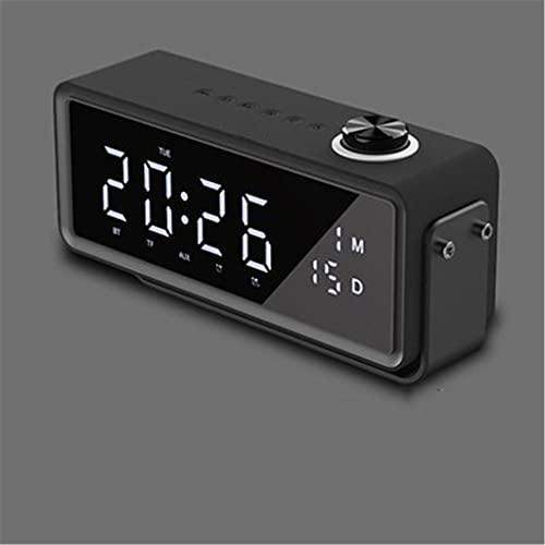 ZZNNN Altavoz Bluetooth inalámbrico Reloj Despertador subwoofer Radio al Aire Libre hogar Mini computadora portátil Audio (Color : Black)