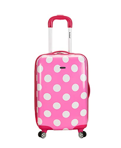 Rockland Laguna Beach Hardside Spinner Wheel Luggage, Pink Dots, Carry-On 22-Inch