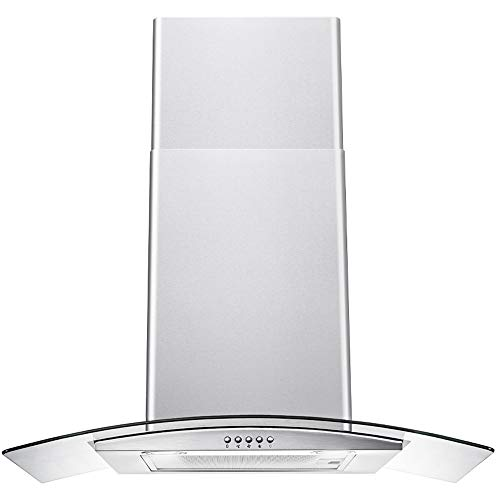 DKB Range Hood 30' Inch Glass Canopy Wall Mount Stainless Steel Kitchen Exhaust Vent With 400 CFM, 3 Speed Fan and Push Button Control Panel | DKB-168D-30