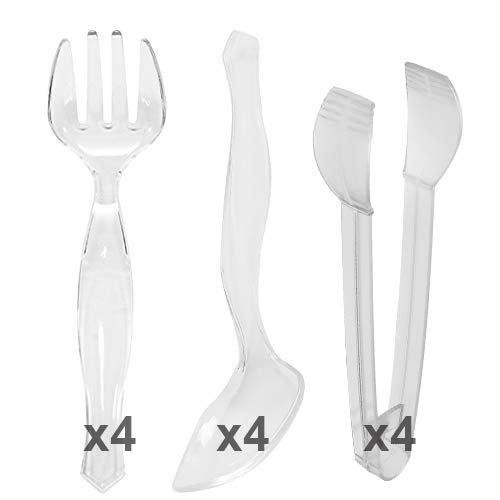 """Disposable Plastic Serving Sets - Set of 12 Clear - Four 9"""" Spoons Four 9 Forks and Four 7"""" Tongs 12 Count Serving Utensil"""