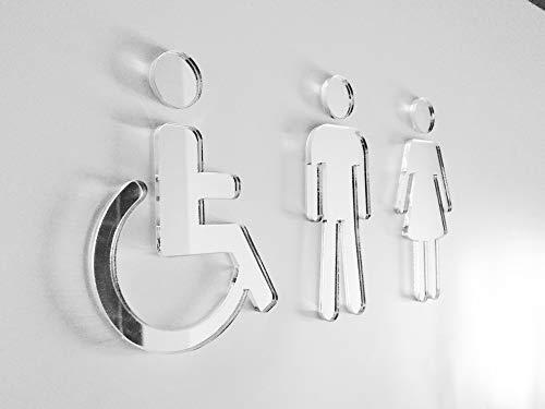 Grupo B58 Señal aseos metacrilato Negro - Hombre Mujer Discapacitado - P02 (P03-HMD)