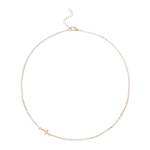 Yalice Minimalist Cross Choker Necklace Gold Sideway Horizontal Necklaces Jewelry for Women and Girls