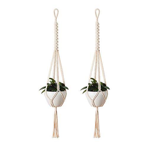 Makramee Blumenampel Hängeampel aus Baumwoll-2 Stück Seil gemacht,Blumenhänger Pflanzhänger für Innen Außen ,Handgefertigtes Blumentopf Pflanzen Halter für Balkon Decke,Wanddekoration-100cm