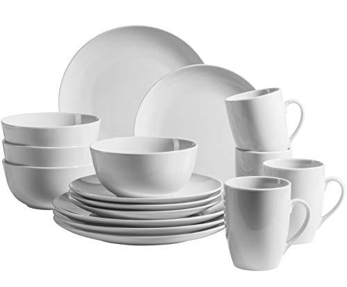 MÄSER 931919 Serie Barca - Vajilla para 4 personas (porcelana, 16 piezas), color blanco