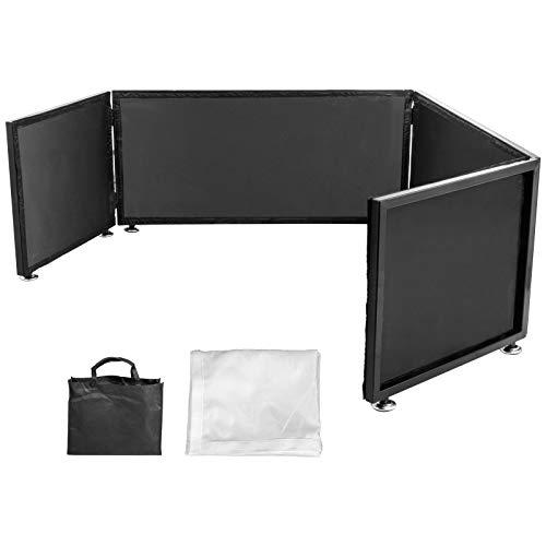VEVOR Fachada de Eventos de DJ 40 x 270 cm DJ Stand Mesa Plegable de Blanco y Negro, Cabina de Panel de DJ Desmontable de Metal Resistente con Bolsa de Transporte Multifuncional para Crear el Ambiente