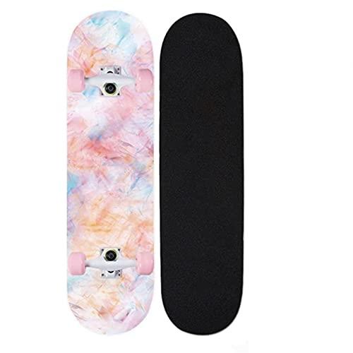 """Skateboards, 31 """"X8"""" Monopatín completo para niños adolescentes y adultos, 7 capas Canadiense Maple Wood Doble patada cubierta Concave Standard and Tricks Skateboard para niños y niñas ( Color : Q )"""