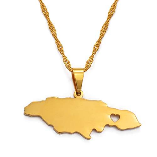 LIUZIXI Collares con Colgantes De Mapa De Jamaica, Hip Hop, Mapas De Países De Jamaica, Colgante De Corazón, Collares De Amistad, para Mujeres, Hombres, Joyería Patriótica Étnica, Regalos De An