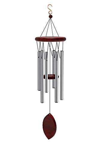 Wind Chimes Outdoor large Deep Tone 6 Tubes Tuned Relaxing Melody Great as a Quality Memorial Gifts Wind Chime Outdoor or to Keep for Your own Patio Porch Garden or Backyard 28 Inch Silver