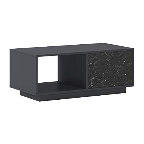 SelectionHome - Mesa de Centro con Puertas para Salón, Comedor, Modelo Solid, Color Estructura Gris Oscuro y Puertas Marmol Negro Mate, Medidas: 92 cm (Ancho) x 50 cm (Fondo) x 40 cm (Alto)