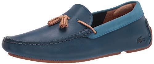 Lacoste Men's Piloter Tassel Loafers Driving Style, BLU/Gum, 10.5