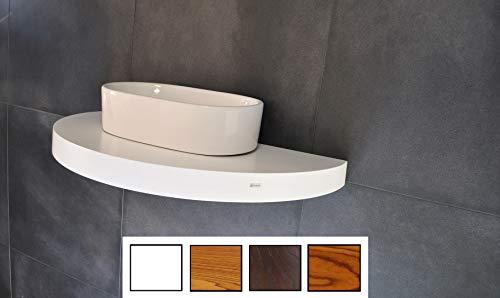 Edler Waschtisch Waschtischplatte Waschkonsole oval/rund Weiß inklusive Halterung OT-120 Carl Svensson