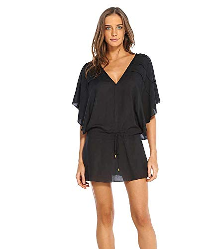 ViX Paula Hermanny Women's Vintage Pleats Tunic Swimsuit Cover Up (Small, Black)