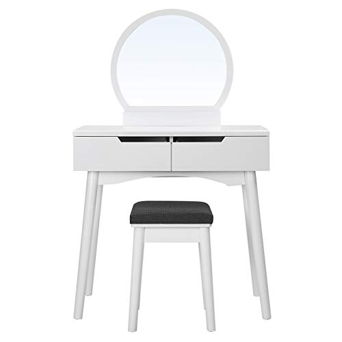 SONGMICS Sunflower Modern Makeup Table with 2 Large Drawers and Rails with Round Mirror and Stool, White, RDT11W, Wood, 80 x 128 x 40 cm, 32.5 x 45.5 x 32.5 cm