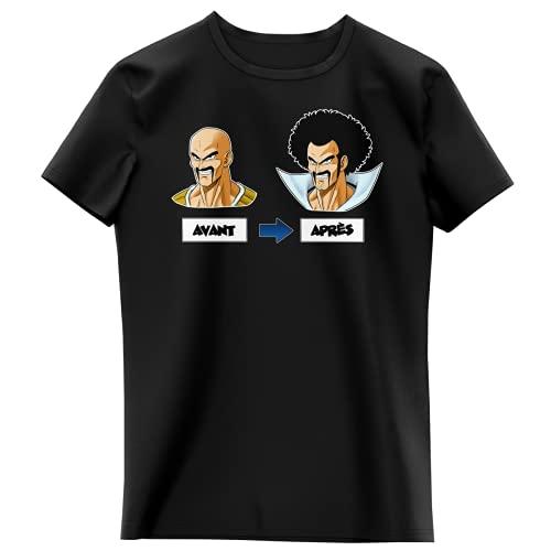 Okiwoki T-Shirt Enfant Fille Noir Parodie Dragon Ball Z - DBZ - Nappa et Hercule Satan - Avant - Après (T-Shirt Enfant de qualité Premium de Taille 8 Ans - imprimé en France)