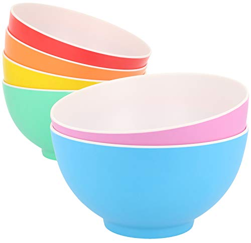 com-four® 6x Schüssel - Kunststoffschüssel aus Melamin - Multifunktionsschale in verschiedenen Farben - bruchfest (06 Stück - Schale)