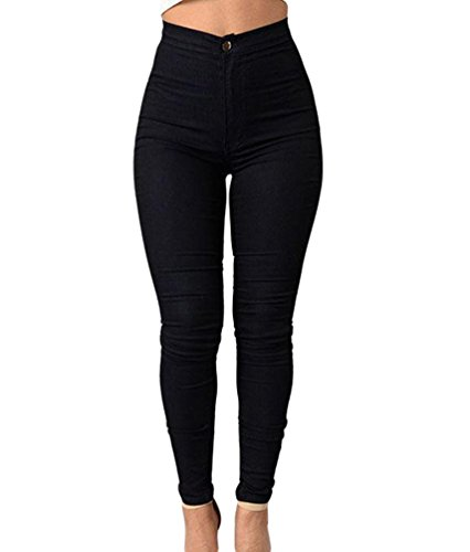 ZKOO Leggings Femmes Stretch Skinny Taille Haute Crayon Pantalon Collants Push Up Denim Pantalons Jeans Noir