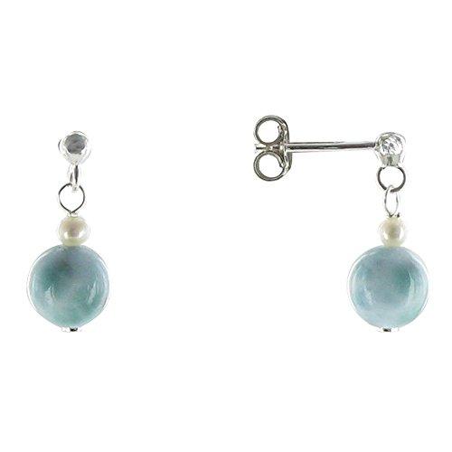 Schmuck Les Poulettes - Sterling Silber Ohrringe Zucht und Larimar Perlen