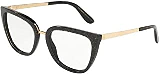 6862284864 Dolce & Gabbana 0DG3314 Monturas de gafas, Glitter Gold Striped Black, 55  para Mujer