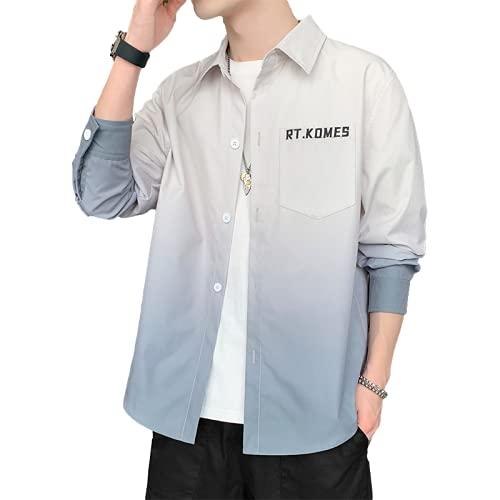 Camisa de Manga Larga para Hombre, otoño Suelto, Color a Juego, Tendencia Salvaje, Informal, clásico, Moda Regular, Camisa con Botones M