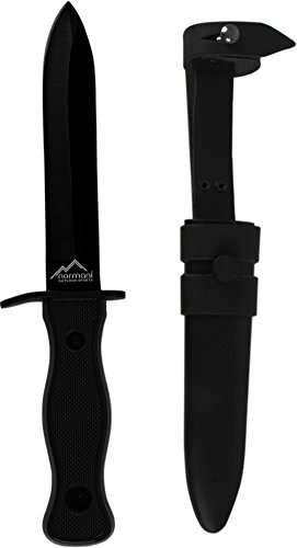 normani Bundeswehr BW Kampfmesser nach TL zerlegbar mit Metallscheide und Lederaufhängung in Schwarz und Oliv Farbe Schwarz