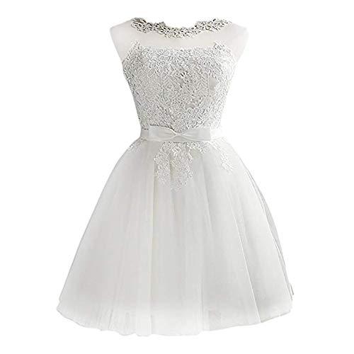Mallalah Mini Vestidos para Mujer Brillo con Encaje Princesa Vestido de Noche de Tul Vestido de Dama de Honor Aplique Corto M-2XL (M, Blanco)