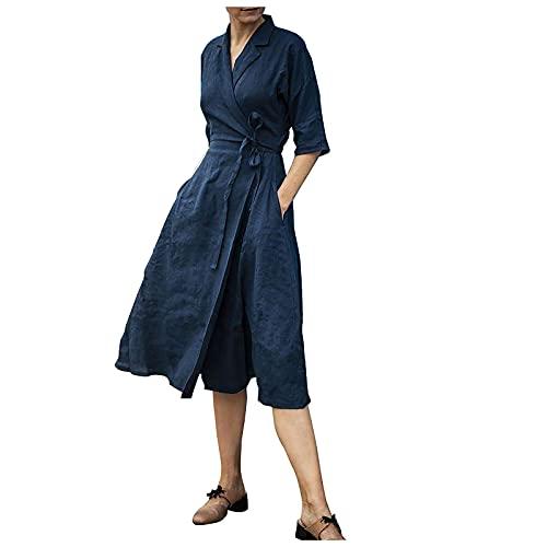 Liably Vestido de mujer de algodón y lino de manga media con encaje en la solapa, elegante vestido de verano de color puro, suelto, de playa de cintura alta, informal, vestido largo azul M-36/38/40