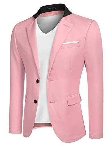 Mens Casual Dress Slim Fit Stylish Pink Jacket Blazer