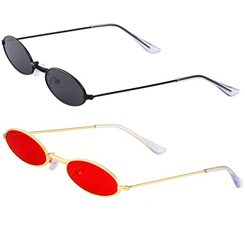 Haichen Vintage kleine ovale Sonnenbrille für Frauen Männer Retro Hippie Brille Metallrahmen Bonbonfarben (Grau + Rot)