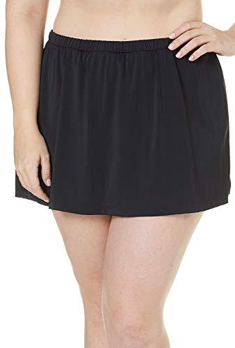 Maxine Of Hollywood Women's Plus Size Mid Rise Skirted Bikini Swimsuit Bottom, Black, 20