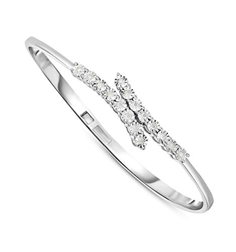NATALIA DRAKE 1/4 Cttw Diamond Open Cuff Bangle Bracelet for Women in Rhodium Plated Sterling Silver 8 Inches (Color H-I / Clarity I2-I3)