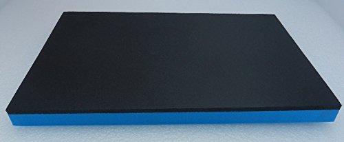 (51,96 €/m²) Werkzeugeinlage Hartschaumstoff Systemeinlage ca. 500 x 500 x 20 mm, schwarz/blau, Schaumeinlage für Werkzeugwagen, Industriequalität