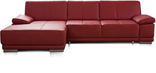CAVADORE Bettsofa Corianne in Echtleder / Ecksofa inkl. Schlaffunktion und verstellbaren Armlehnen / 282 x 80 x 162 / Echtes Leder, rot