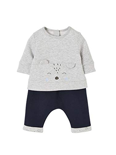 VERTBAUDET Set für Neugeborene: Sweatshirt und Hose grau meliert+nachtblau 74