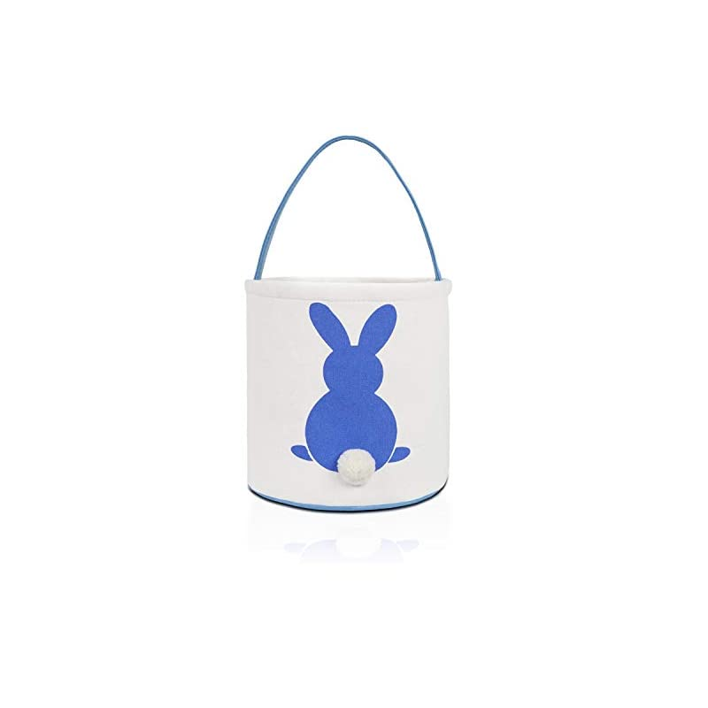 crib bedding and baby bedding monoblanks easter bunny basket bags for kids canvas cotton carrying gift and eggs hunt bag,fluffy tails printed rabbit canvas toys bucket tote