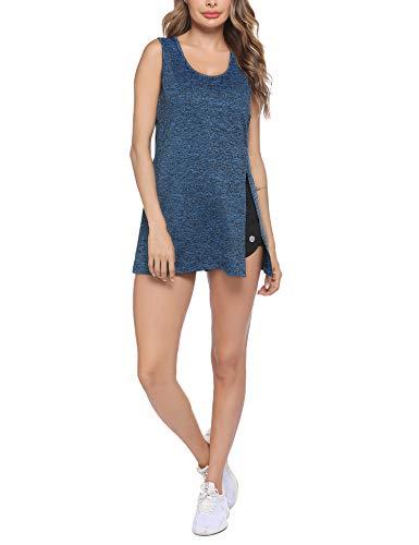 ADOME Zumba - Camiseta de tirantes para mujer, sin mangas, para yoga, running, con aberturas laterales, Mujer, azul oscuro, extra-large