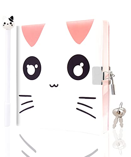 Cute Cat Journal with Lock for Girls Soft Leather Secret Diary with Pen 192 Lined and Blank Pages for Writing and Drawing 6.3 inch x 6.3 inch Kids Diary
