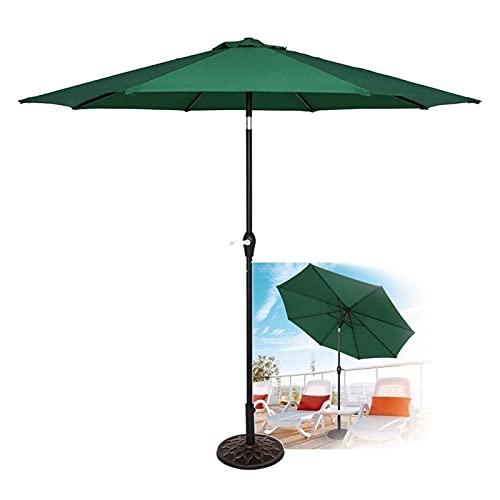 SKYWPOJU Parasol de jardín de 2,7 m, Parasol para Exterior, 8 Varillas Resistentes con Mecanismo de manivela e inclinación para césped, terraza, Patio y balcón (Color : Green)