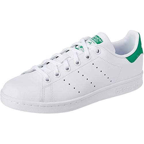 Adidas Stan Smith J, Scarpe da Basket Unisex – Bambini, Bianco (Footwear White/Footwear White/Green), 37 1/3 EU