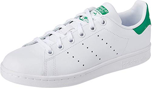 adidas Stan Smith J Zapatillas Unisex Niños, Blanco (Footwear White/Footwear White/Green 0), 38 2/3 EU