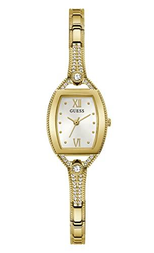 GUESS Reloj de cuarzo para mujer con correa de acero inoxidable, dorado, 7.5 (Modelo: GW0249L2)