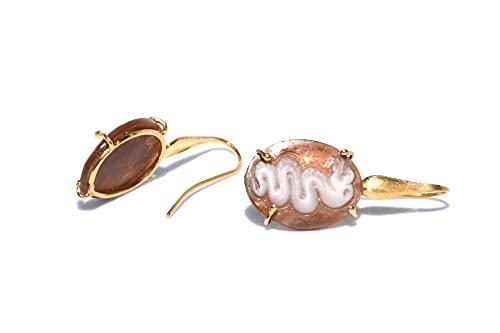Ohrringe aus 925er-Silber, vergoldet mit Gelbgold und Kamee, handgraviert, Turm des Griechischen