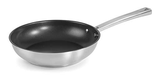 Lacor 45328 Foodie-Sartén con Antiadherente Quantanium, Acero Inoxidable 18/10, 28 cm