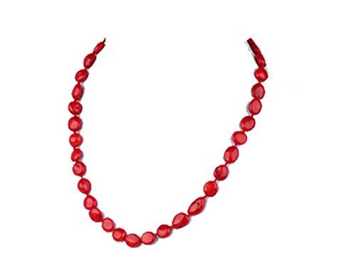 TreasureBay Collana con corallo rosso scuro naturale, 52 cm