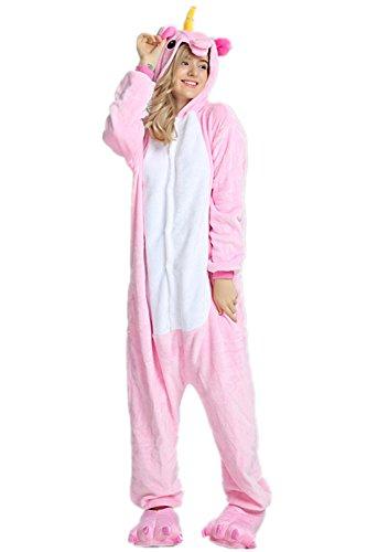 Kenmont Kostüm Einhorn Pyjama Tier Schlafanzug Overall Einteiler Jumpsuit Sleepsuit Cosplay Karneval Halloween (S, Pink)