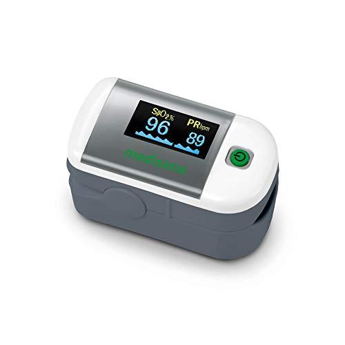 Medisana PM 100 Oxímetro de pulso, medición de la saturación de oxígeno en sangre, oxímetro de pulso de dedo con pantalla OLED y operación con una sola pulsación ⭐