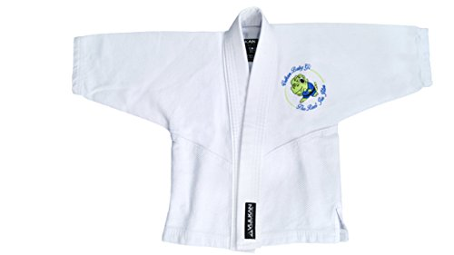 Vulkan Fight Company Brazilian Jiu Jitsu, BJJ GI Baby Dino Limited Edition, Baby Girl or Boy, White with Baby Dinosaur, B1