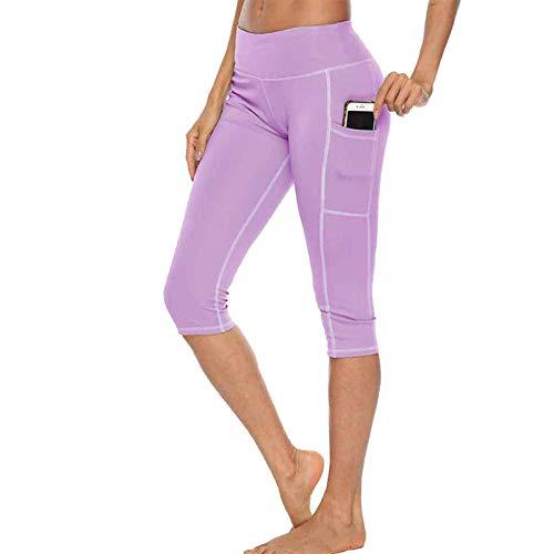 B/H Respirant Casual Leggings De Sport Yoga,Pantalon de Yoga de Course Taille Haute, Legging Stretch décontracté à séchage Rapide-Violet Clair_L
