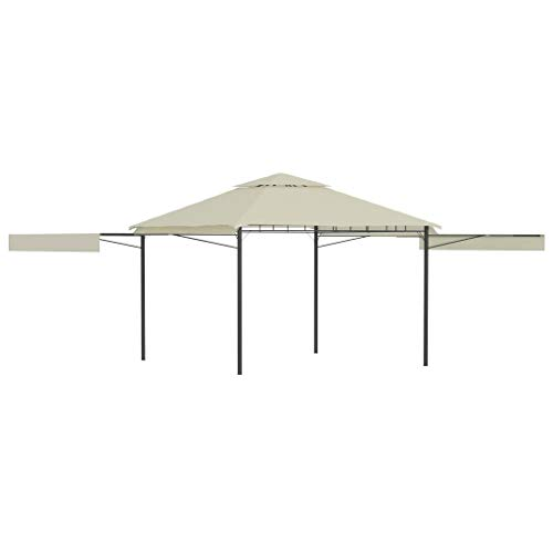 vidaXL Gazebo with Double Extended Roofs Outdoor Garden Canopy Sunshade Shelter Patio Pavilion Poolside Party Tent 3x3x2.75m Cream 180g/m²