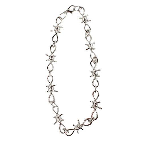 Timesuper Gothic Thorns Choker Necklace Statement Rock Punk Hip Hop Chain Necklace Bracelet for Women Men,Necklace